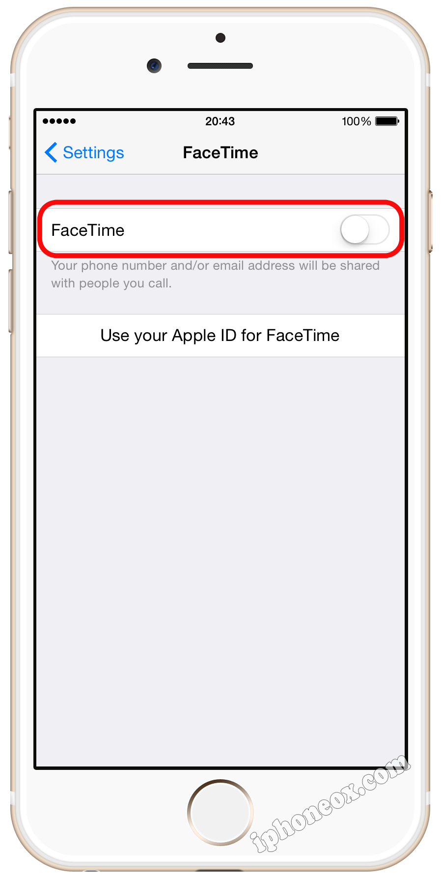 Tap Settings > iFace and turn iFace off